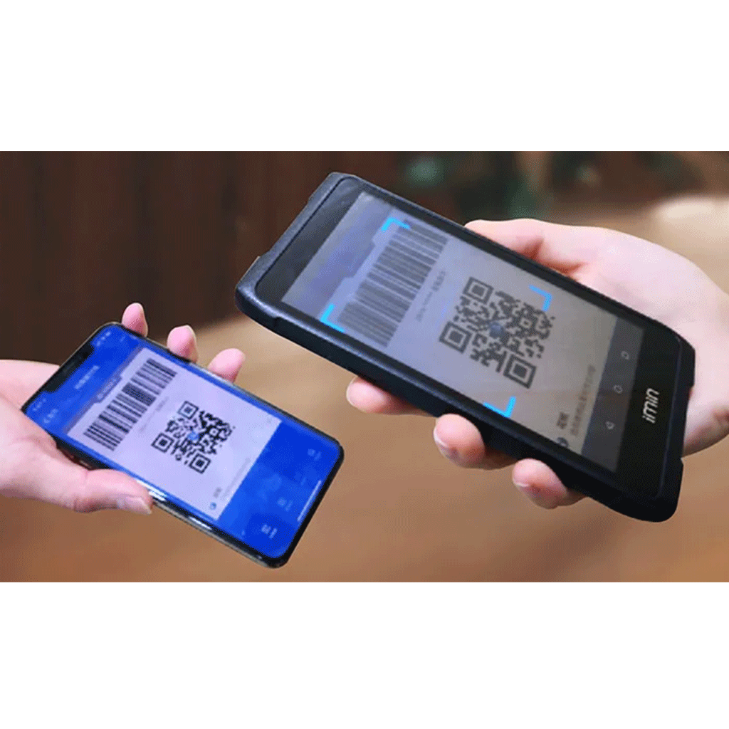 An image of our handheld pos device scanning a QR code