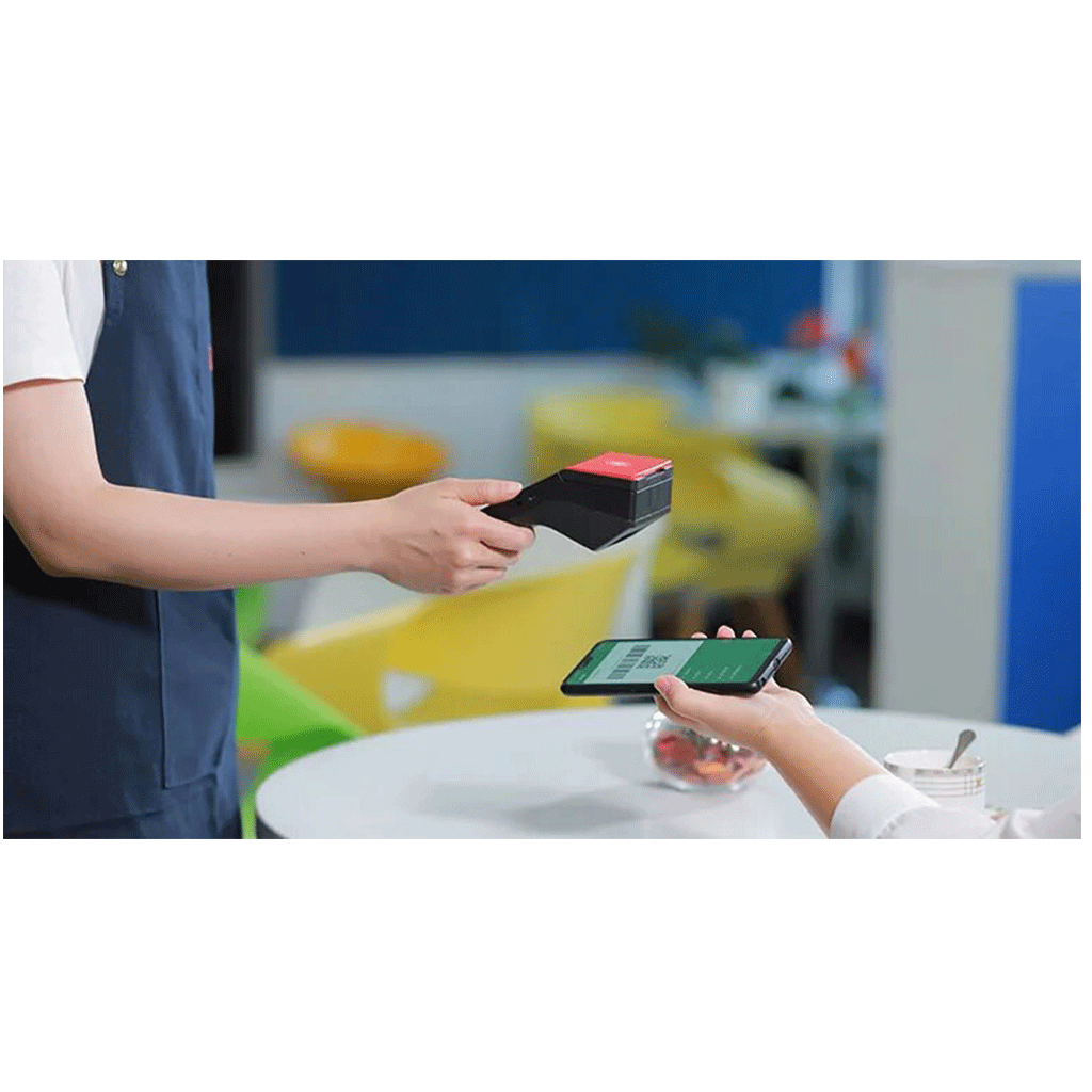 An image of our handheld POS machine scanning customer QR code
