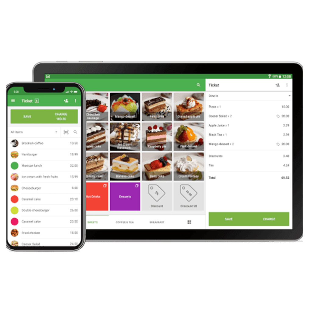 An image of POS software with food order taking feature